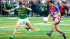 New York's Jamie Clarke and Leitrim's Paddy Maguire. Photograph: Andy Marlin/Inpho