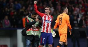 Atletico Madrid's Antoine Griezmann celebrates after his side beat Arsenal to reach the Europa League final. Photo: Susana Vera/Reuters