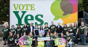 Members of the Together for Yes campaign in Athlone on Sunday. Photograph: Liam Kidney