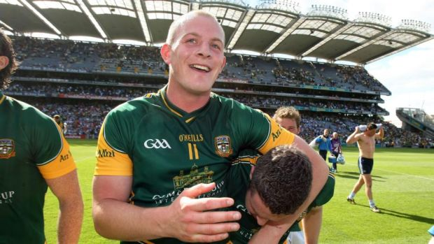 Joe Sheridan celebrates Meath's win over Dublin in 2010 - the last time Dublin were beaten in Leinster. Photograph: Cathal Noonan/Inpho