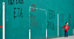 "Graffiti reading ""ETA, thanks a lot, the people with you""in Basque village of Hernani. Photograph: Ander Gillenea/AFP/Getty"