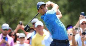 Rory McIlroy in action during the final roun dof the Wells Fargo Championship. Photograph: Sam Greenwood/Getty