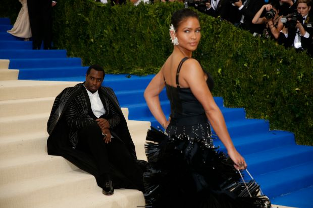 P. Diddy and Cassie pose on the stairs during the Met Gala at the Metropolitan Museum of Art in New York, May 1st, 2017. Photograph: Benjamin Norman/The New York Times