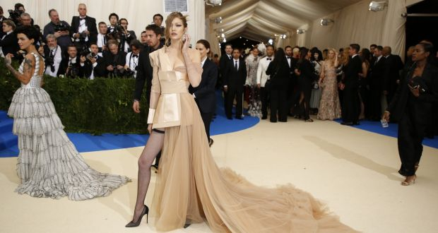 6828c4b75d Gigi Hadid makes her entrance at the Met Gala at the Metropolitan Museum of  Art in
