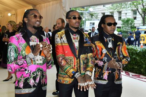 Quava, Takeoff and Offset of Migos arrive for the 2018 Met Gala. Photograph: Getty Images