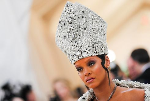 Rihanna arrives at the Met Gala. Photograph: Reuters