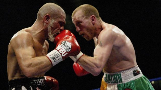 Magee battles his way to a win during the WBU welterweight title fight between against Jimmy Vincent at Cardiff Ice Rink in December, 2003. Photo: John Gichigi/Getty Images