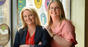 Michelle Long and Claire Cahill, founders of the Scoliosis Advocacy Network. Photograph: Dara Mac Dónaill