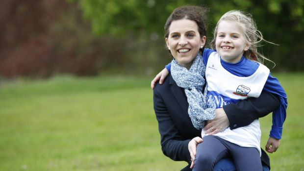 Liver transplant recipient Éabha Devitt (7) and her mother Ciara, members of Dunboyne Athletics Club, will take part in RunforaLife at Corkagh Park, Clondalkin, Dublin. Photograph: Conor McCabe