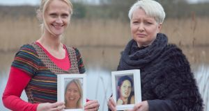 Sinéad Tarmey, Wicklow Hospice, and Therese Tyrrell with  photographs of her late sisters Nora and Bernie
