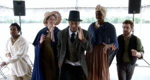 Gary Perkins III as Frederick Douglass, with fellow cast members Tiffany Byrd, Kevin Collins, Louis Davis, Jenny Donovan, Madeline Mooney. Photograph: Rex Daugherty