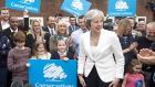 British prime minister Theresa May speaks to party supporters at Sedgley Conservative Club in Dudley last week ahead of local elections. Photograph: Anthony Devlin via Reuters