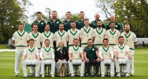 Cricket Ireland president Aideen Rice and the Ireland players, coaches and backroom team pose for the official photograph at Malahide ahead of the first Test match against Pakistan on Friday.   Photograph: Billy Stickland/Inpho