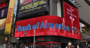 Times Square ad for Bank of America: banking giant said last year it aims to merge its existing Irish banking subsidiary with its main bank in London to create its main European banking entity, based in Ireland.