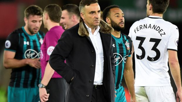 A dejected Carlos Carvalhal after his side's defeat to Southampton. Photograph: Rebecca Naden/Reuters