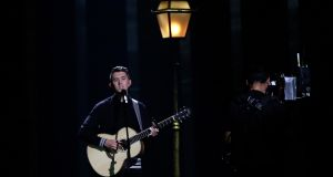 Ryan O'Shaughnessy  performs 'Together' in Lisbon, during the first semi-final for the Eurovision Song Contest. Photograph: Armando Franca/AP