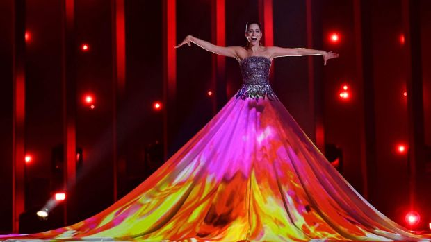 Estonia's singer Elina Nechayeva performs 'La Forza' during the first semi-final of Eurovision Song Contest. Photograph: AFP