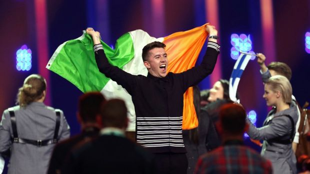 Ryan O'Shaughnessy f celebrates after securing a place in the final in Lisbon, Portuga in the first semi-final for the Eurovision Song Contest. Photograph: AP