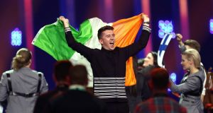 Ryan O'Shaughnessy secures a place in the Eurovision final – in Lisbon, Portugal, 2018 during the first semi-final for the Eurovision Song Contest. Photograph: AP Photo/Armando Franca