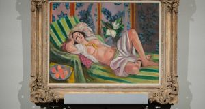 Henri Matisse's Odalisque couchee aux magnolias  on display during an auction from the collection of Peggy and David Rockefeller  in New York. Photograph: Julie Jacobson/AP Photo