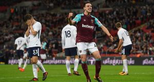 Declan Rice has been a regular at West Ham this season. Photograph: Stu Forster/Getty Images