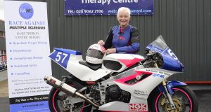 Yvonne Montgomery this year has been racing on a 1989 Kawasaki ZXR400 and a 2007 Suzuki GSXR 600, averaging 160km/h  and tipping 217km/h. Photograph: Arthur Allison/Pacemaker Press