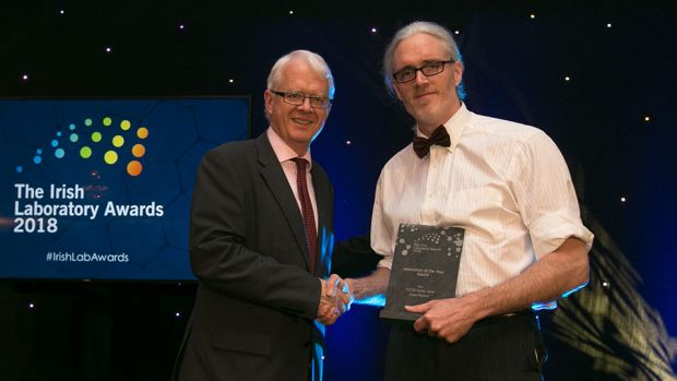 Matt Moran, Director, BioPharmaChem Ireland, presents the Innovation of the Year Award to Rory Mooney, Class Medical.