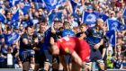 Leinster players congratulating James Ryan after he scored a try against Scarlets.  The genesis of the try  was a sharp lineout move. Photograph: Morgan Treacy/Inpho