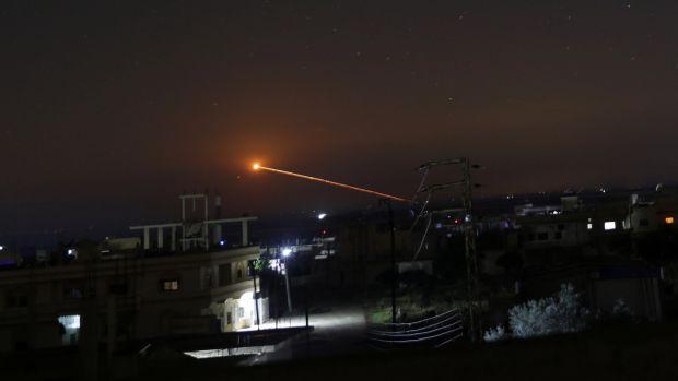 Missile fire is seen over Daraa, Syria, May 10th, 2018. Photograph   : REUTERS/Alaa al Faqir