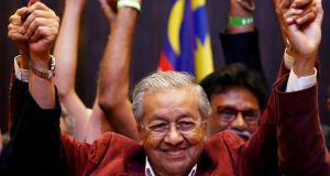 Mahathir Mohamad, former Malaysian prime minister and opposition candidate for Pakatan Harapan (Alliance of Hope), during a news conference after his general election win in Petaling Jaya, Malaysia. Photograph: Lai Seng Sin/Reuters