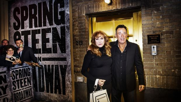 Bruce Springsteen and his wife, Patti Scialfa, leave the Walter Kerr Theater after the show. Photograph: Dina Litovsky/The New York Times