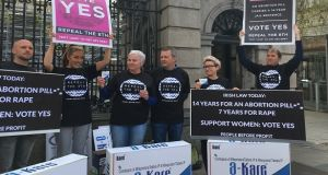 People Before Profits TDs outside Leinster House on Thursday
