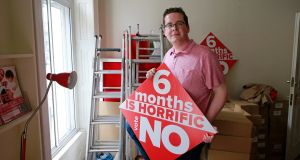 John McGuirk in the No campaign HQ, 'Life House', Gardiner Place, Dublin. Photograph: Nick Bradshaw