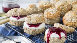 Wholemeal scones with cream and jam. Photograph: Harry Weir