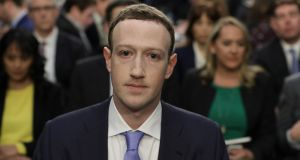 Facebook  chief  Mark Zuckerberg at a US Senate hearing in April. The  distribution of fake news could be combated by sanctioning social media platforms. Photograph: Chip Somodevilla/Getty Images