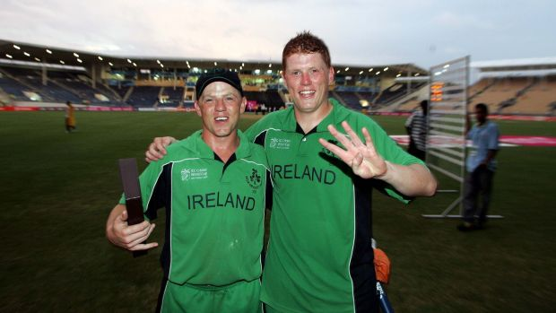 Niall and Kevin O'Brien celebrate beating Pakistan in the 2007 World Cup at Sabina Park in Jamaica. Photograph: Morgan Treacy/Inpho