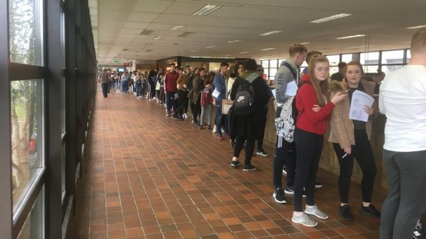 Students queue up to register to vote at NUI Galway following a registration drive by USI.