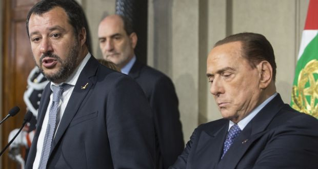 "Matteo Salvini, leader of Eurosceptic party League and Silvio Berlusconi, leader of the Forza Italia party: ""We will evaluate the government that is created, supporting any measures that are useful for Italians,"" tweeted Mr Berlusconi. Photograph: Giulio Napolitano/Bloomberg"