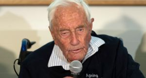 Australian scientist David Goodall (104) speaks during a press conference a day before his assisted suicide in Basel, Switzerland, on Thursday. Photogreaph: Georgios Kefalas/Keystone via AP