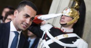 Five-Star Movement (M5S) leader Luigi Di Maio arrives to address the media after a meeting with Italian President Sergio Mattarella  .Photograph: Angelo Carconi/EPA