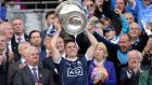 Dublin captain Stephen Cluxton lifts Sam Maguire after beating Mayo in the All Ireland senior football championship final at Croke Park, Dublin, last year. Photograph:   Dara Mac Donaill