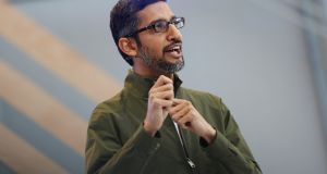 Google CEO Sundar Pichai speaks on stage during the annual Google I/O developers conference in Mountain View, California. Photograph: Stephen Lam/Reuters