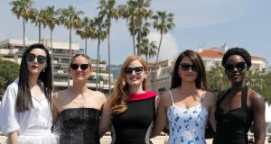 Jessica Chastain (centre) with  Fan Bingbing, Marion Cotillard,  Penelope Cruz and Lupita Nyong'o at the announcement of spy drama '355' at the 2018 Cannes film festival. Photograph: Eric Gaillard/Reuters