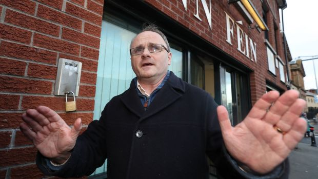 Then West Tyrone MP Barry McElduff leaving Sinn Féin headquarters on the Falls Road in Belfast after his suspension from all party activity for three months after he posted a video of himself with a loaf of Kingsmill bread on his head on the anniversary of the Kingsmill massacre. File photograph: Niall Carson/PA Wire