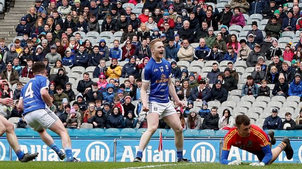 Cavan's Adrian Cole celebrates Enda Flanagan scoring a goal in the Division Two final. Photograph: Inpho/Bryan Keane