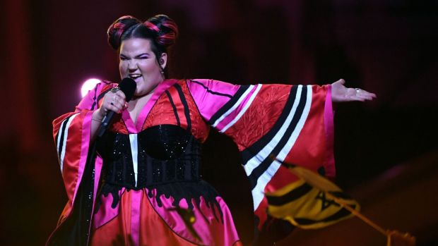 Israel's singer Netta – noted for her exaggerated facial expressions and chicken dance – performs the song 'Toy' during the first semifinal. Photograph: AFP Photo/Francisco Leong