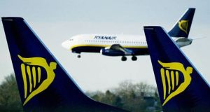 "Two cabin crew members on a Ryanair flight fell  and one broke an ankle after the pilot pulled  hard on the  manual controls when it began to ""overspeed"".  File photograph: Getty Images"