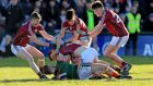 Mayo's Aiden O'Shea  with Johnny Heaney, Sean Kelly, Declan Kyne and Barry McHugh of Galway during their   Division One clash at Pearse Stadium, Galway, in February. Photograph: Donall Farmer/Inpho