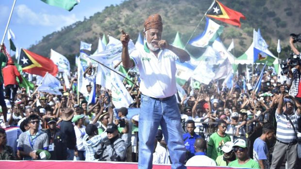 Xanana Gusmão of the National Congress for Timorese Reconstruction campaigning in Dili ahead of Saturday's parliamentary elections in Timor-Leste. Photograph: Valentino Dariell De Sousa/AFP/Getty Images