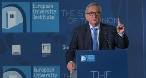 "Jean-Claude Juncker speaking at the European University Institute in Florence: ""We want all Europeans to be full-time Europeans, not fair-weather Europeans."" Photograph: Claudio Giovannini"